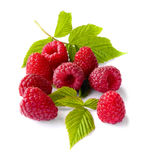 Delicious first class fresh raspberries isolated on white background. Close up Stock Photo