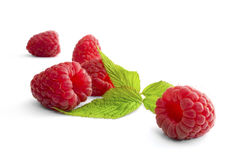 Delicious first class fresh raspberries isolated on wite. Background Stock Photo