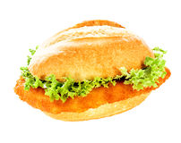 Delicious fish burger on a crusty bun Stock Photos