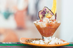 Delicious fish ceviche, typical ecuadorian plate Stock Photos