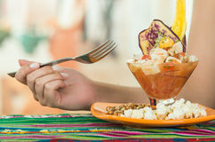 Delicious fish ceviche, typical ecuadorian plate Royalty Free Stock Photos