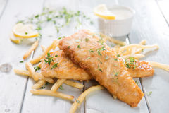Delicious fish and chips Stock Photo