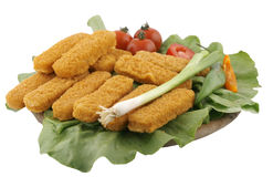 Delicious fish finger plate. On salad, isolated Stock Photos