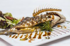 Delicious fish kebabs. Cooked at the highest level Royalty Free Stock Photography