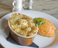 Delicious fish pie. Fish pie with mashed swede Stock Photography