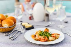 Delicious seafood lunch. Delicious fish and scallop served for lunch or dinner Stock Image