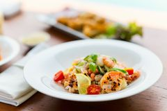 Delicious seafood lunch. Delicious fish, shrimp and scallop salad served for lunch or dinner Stock Photography