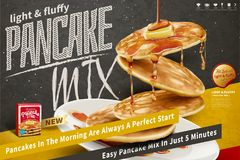 Delicious fluffy pancake ads Stock Image