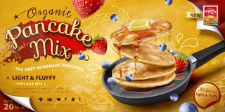 Delicious fluffy pancake ad Royalty Free Stock Photography