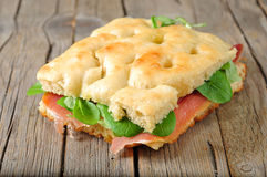 Delicious Focaccia with jam and rucola Royalty Free Stock Photography