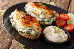Delicious food: Baked chicken fillet stuffed with cheese and spi Royalty Free Stock Photos