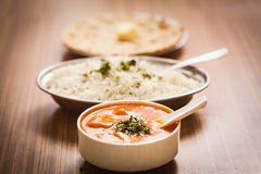 Delicious food Butter Paneer, steamed rice and chapati Royalty Free Stock Photo
