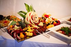 Delicious food during a celebration like wedding or other festivities stock photos