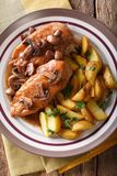 Delicious food: chicken breast in Marsala sauce with mushrooms a Stock Photography