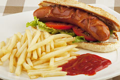 A delicious hot dog sandwich with french fries Stock Photos