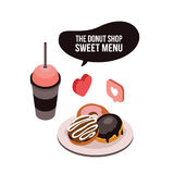 Delicious food Coffee Tea cup and dessert donut Isometric Stock Image