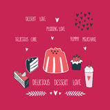 Delicious food dessert collection Milkshake Cake Pudding Cupcake Food Stock Photography