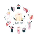 Delicious food dessert collection Milkshake Cake Pudding Cupcake Food Royalty Free Stock Photos