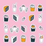 Delicious food desserts set cake muffin cupcake strawberry milkshake drinks Stock Photo