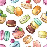 Delicious food of france. Colored macaroons set. Vector seamless pattern vector illustration