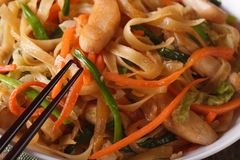 Delicious food: fried noodles with chicken and vegetables macro Stock Image
