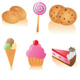Delicious food icon set. Tasty pastry and sweets icon set, also available in vector Royalty Free Stock Photo