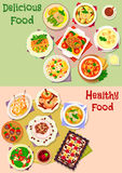 Delicious food icon set for lunch menu design Royalty Free Stock Photo