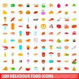 100 delicious food icons set, cartoon style. 100 delicious food icons set in cartoon style for any design vector illustration Royalty Free Stock Photo