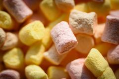 Delicious food. Marshmallow recipe with sugar and gelatin. Marshmallow souffle with sweet flavor. Colorful mini stock image