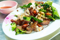 Delicious food in Northeast of Thailand made from deep fried pork Stock Images