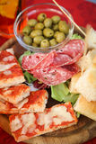 Delicious food platter with various snacks Royalty Free Stock Photos
