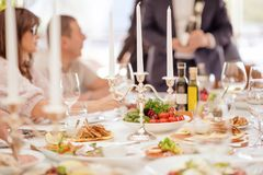 Delicious food ready and decorated. Banquet table. royalty free stock images