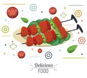 Delicious food skewers grilled meat vegetables nutrition. Vector illustration Stock Photos