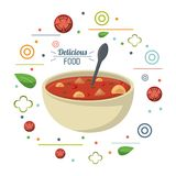 Delicious food soup nutritional diet spoon poster royalty free illustration