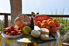 Delicious food, specialties of Calabria. Specialties of the region Calabria, bergamot, pecorino cheese, pumpkin, tomatoes, red wine and oranges placed on a table stock photography
