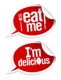 Delicious food stickers Royalty Free Stock Photography