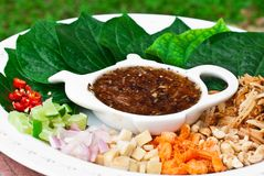 A delicious food in Thailand called  Miang kham Stock Photo