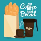 Delicious french bread and coffee label Royalty Free Stock Photography