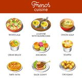 Delicious French cuisine with most famous exquisite dishes. Fresh ratatouille, jullienne with mushrooms, onion soup, sweet creme brulee, colorful macaroni Royalty Free Stock Photography