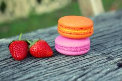 Delicious French macaroons - Delicious French pastries. Royalty Free Stock Images