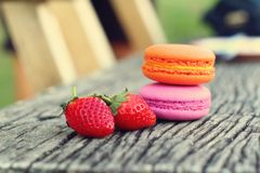 Delicious French macaroons - Delicious French pastries. Royalty Free Stock Photo