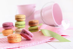 Delicious French Macaroons on table Stock Images