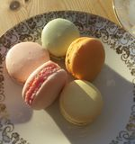 French Macarons in different colors royalty free stock photo