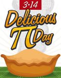 Delicious and Steamy Baked Pie for Pi Day Celebration, Vector Illustration. Delicious fresh baked pie with steam like pi numeric value, date and golden greeting vector illustration