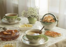 Delicious fresh breakfast for two. Tea with lemon, apple jam and biscuits stock photos