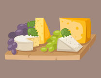 Delicious fresh cheese variety italian different dinner grape flat dairy food vector illustration. Stock Image