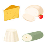 Delicious fresh cheese variety italian dinner icon flat dairy food and milk camembert piece different delicatessen gouda Stock Photos