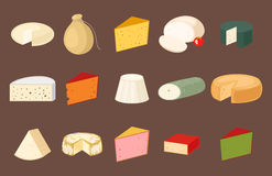 Delicious fresh cheese variety italian dinner icon flat dairy food and milk camembert piece different delicatessen gouda. Set vector illustration. Traditional royalty free illustration