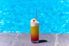 Delicious fresh cocktail near the pool, close-up stock images