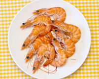 Delicious fresh cooked shrimp Stock Photo